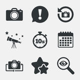 Photo camera icon. Flip turn or refresh signs. Photo camera icon. Flip turn or refresh symbols. Stopwatch timer 10 seconds sign. Attention, investigate and vector illustration