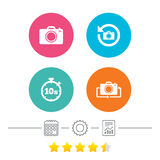 Photo camera icon. Flip turn or refresh signs. Photo camera icon. Flip turn or refresh symbols. Stopwatch timer 10 seconds sign. Calendar, cogwheel and report Royalty Free Stock Photo