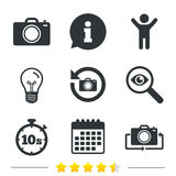 Photo camera icon. Flip turn or refresh signs. Photo camera icon. Flip turn or refresh symbols. Stopwatch timer 10 seconds sign. Information, light bulb and vector illustration