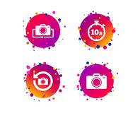 Photo camera icon. Flip turn or refresh signs. Vector. Photo camera icon. Flip turn or refresh symbols. Stopwatch timer 10 seconds sign. Gradient circle buttons vector illustration