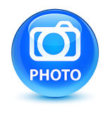 Photo (camera icon) glassy cyan blue round button Royalty Free Stock Images
