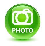 Photo (camera icon) glassy green round button Royalty Free Stock Image