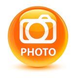 Photo (camera icon) glassy orange round button Stock Photos