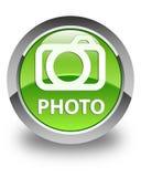 Photo (camera icon) glossy green round button Royalty Free Stock Photos