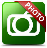 Photo camera icon green square button Stock Photo