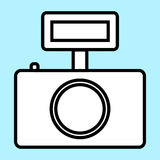 Photo camera icon  illustration. Linear symbol with thin outline. The thickness is edited. Minimalist style. Exclusive quality of execution in material design Stock Images