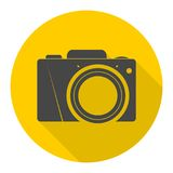 Photo camera icon with long shadow. Vector icon Stock Photography