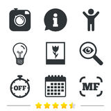 Photo camera icon. Manual focus and Macro signs. Stock Photos