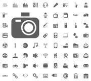 Photo camera icon. Media, Music and Communication vector illustration icon set. Set of universal icons. Set of 64 icons.  Royalty Free Stock Photography
