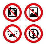 Photo camera icon. No flash light sign Stock Photos