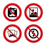 Photo camera icon. No flash light sign Stock Photos