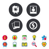 Photo camera icon. No flash light sign. Royalty Free Stock Photos