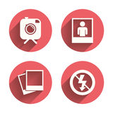 Photo camera icon. No flash light sign Royalty Free Stock Photography