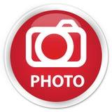 Photo (camera icon) premium red round button Royalty Free Stock Photo