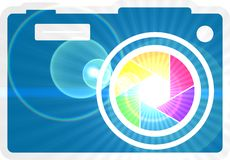 Photo camera icon. Rainbow lens aperture. Photo camera icon. Outline silhouette with rainbow colors lens aperture Stock Images