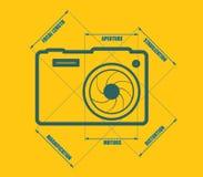 Photo camera icon. Vector. Main parameters Stock Photos