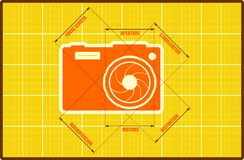 Photo camera icon. Vector. Main parameters Stock Image