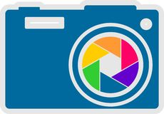 Photo camera icon. Vector. Rainbow lens aperture. Photo camera icon. Outline silhouette with rainbow colors lens aperture Royalty Free Stock Photos