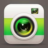Photo camera icon. Vector shiny lens. Green reflex Stock Images