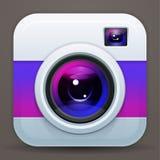 Photo camera icon. Vector shiny lens. Purple reflex Stock Photos