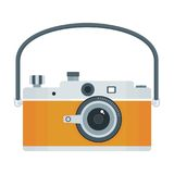 Photo camera icon yellow. Flat vector cartoon illustration. Objects isolated on a white background Royalty Free Stock Photos