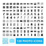 Photo camera icons set. Photo camera black web and system icons with accessories set. Photography  icon element isolated on a white background. Designed by 24x24 Royalty Free Stock Photo