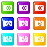 Photo camera icons 9 set. Photo camera icons of 9 color set isolated vector illustration Royalty Free Stock Images