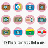 Photo camera icons set in flat style. Flat design vector stylish illustration Royalty Free Stock Images