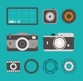 Photo camera icons set in flat style. Isolated graphic retro camera and lins style vector illustration. Photo camera icons set in flat style. Isolated graphic Royalty Free Stock Photography