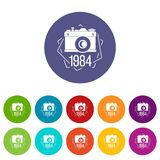 1984 photo camera icons set vector color. 1984 photo camera icons color set vector for any web design on white background royalty free illustration