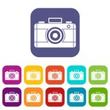 Photo camera icons set. Vector illustration in flat style in colors red, blue, green, and other Royalty Free Stock Image