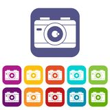 Photo camera icons set. Vector illustration in flat style in colors red, blue, green, and other Stock Images