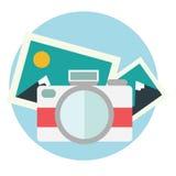 Photo camera illustration in flat color design Stock Image