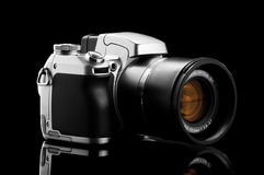 Photo camera isolated on black Royalty Free Stock Photography