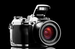Photo camera isolated on black Royalty Free Stock Photo
