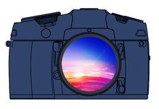 Photo camera isolated. The camera illustration with a lens in which is reflected a landscape stock illustration