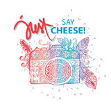 Photo camera with just say cheese! hand lettering. For shirt design Royalty Free Stock Image