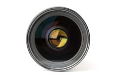 Photo camera lens. Professional grade SLR photo camera lens, front view, isolated on white Stock Photo