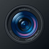 Photo Camera Lens. Front View of Photo Camera Lens. Vector Illustration Stock Photo