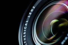 Photo camera lens closeup
