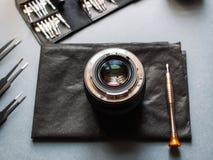 Photo camera lens repair and maintenance set Royalty Free Stock Images
