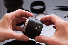 Photo camera lens repair set. Engineer maintenance Royalty Free Stock Photography