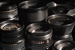 Photo camera lenses. Royalty Free Stock Photo