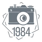 1984 photo camera logo, simple style. 1984 photo camera logo. Simple illustration of 1984 photo camera vector logo for web design stock illustration