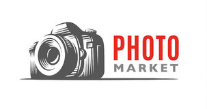 Photo camera logo - vector illustration. Classic emblem stock photos