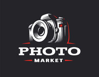 Photo camera logo - vector illustration. Vintage emblem stock photography
