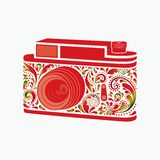 Photo camera. Made of a leaf pattern. Royalty Free Stock Photo