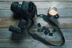 Photo camera and memory card Royalty Free Stock Images