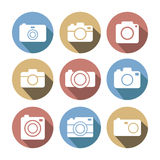 Photo camera multicolored flat style icon set. Stock Photos