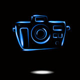 Photo camera neon icon isolate. Vector EPS Royalty Free Stock Photo